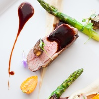 Radio Milano November 2014 duck breast - celery root, foraged mushrooms, hibiscus demi