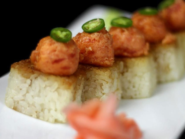Crispy Rice & Spicy Tuna sushi roll at LOOK Cinemas