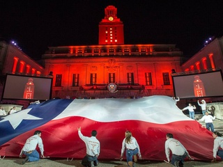 2014 Gone to Texas rally UT Tower university of texas with Texas flag