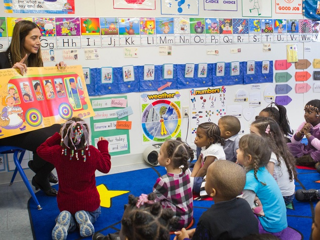 Head Start program with teacher and young students
