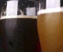 Beer in glasses closeup
