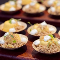 Art Bites Event at the Russell Collection in Austin Sway Kabocha Squash Cheese Cake Chef Alexis Chong Artist Maxine Price
