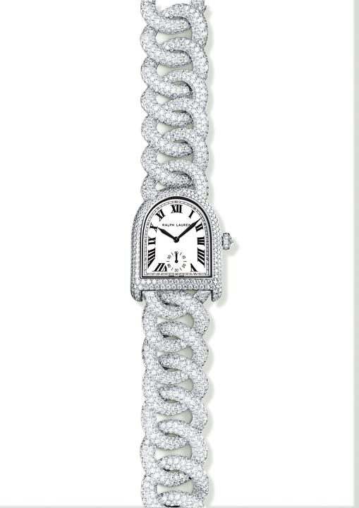 Ralph Lauren diamond link stirrup watch