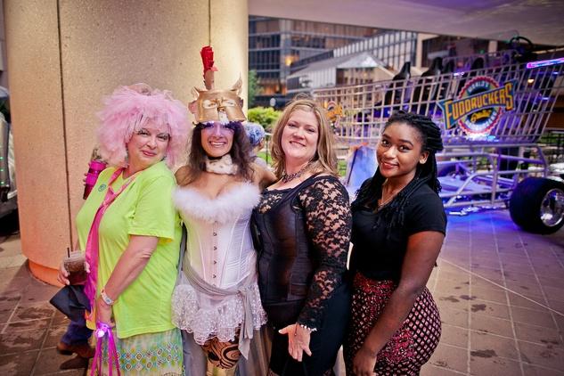250 Nancy Lauritsen, from left, Belinda Crimmins, Shannon Abernathy and Kortnie Landry at the Art Car Ball April 2015