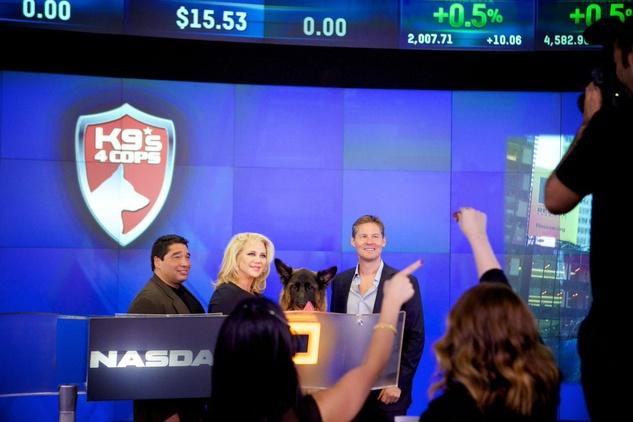 Bill Stanton, Kristi Schiller and Dave Zinczenko at NASDAQ bell ringing for K9s4Cops