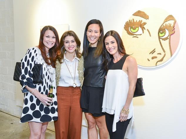 64 Megan Vondra, from left, Rachael Volz, Ting Bresnahan and Alyson Hass at the Children's Assessment Center Art Party November 2013
