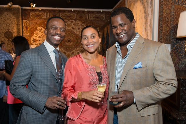Astley Blair, from left, with Siva and Teddy Adams at the Abraham's Oriental Rug dinner September 2014