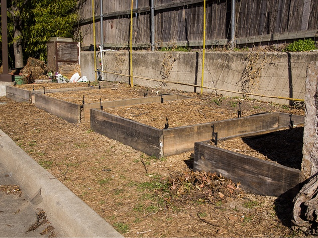 Raised garden beds behind Sundown at Granada