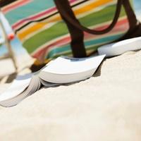 paperback, book, beach, chair