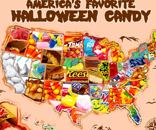 Houston, map of favorite Halloween candy by state, October 2017
