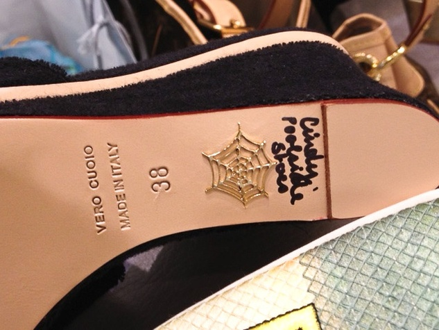 """5 Charlotte Olympia shoe designer April 2013 The infamous """"web"""" on the sole of a signed shoe"""