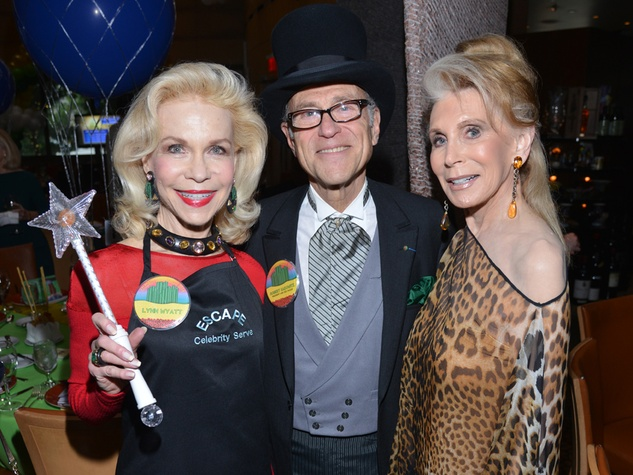 1S Lynn Wyatt, from left, Bob Sakowitz and Joan Schnitzer Levy at the Emerald City ESCAPE Celebrity Serve Benefit April 2014 by Jeff Grass