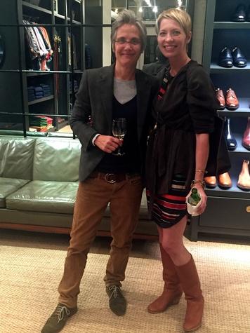 Monica Pope, left, and Sara Eliason at Sid Mashburn + Ann Mashburn Houston Anniversary Party December 2014
