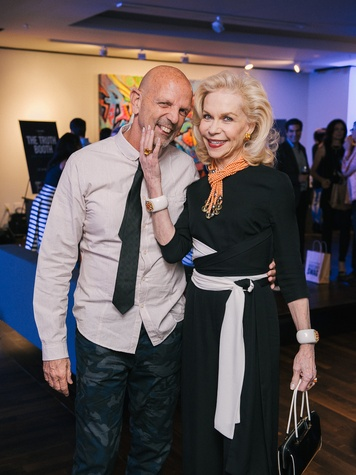 1 Clifford Pugh and Lynn Wyatt at CultureMap fifth anniversary birthday party October 2014