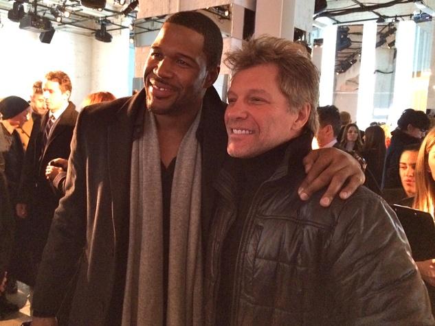 Michael Strahan, Jon Bon Jovi at Kenneth Cole show February 2014