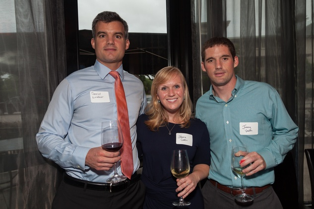 David Lindner, from left, Jeanie Oudin and Jimmy Vaeth at Casa de Esperanza Young Professionals party July 2014
