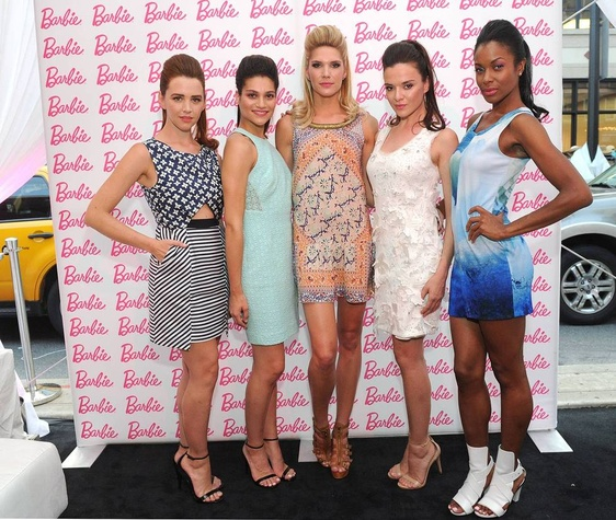 models in Barbie designs at Barbie New York Fashion Week party