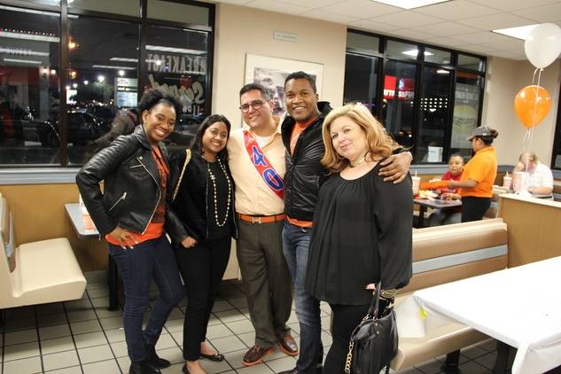 Yvette Thomas, Veena Chandrakar, Roland Maldonado, Washington Sereatan, Bernadette Parnell at Whataburger party