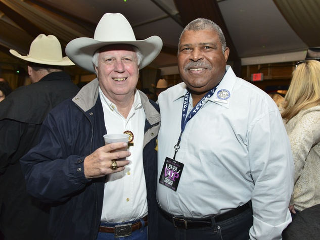 2 Jerry Hickman, left, and Romeo Crennel at the Houston Rodeo barbecue cook-off February 2014