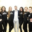 273 Neal Hamil models with Jeremy Kight at the Uptown Blow Dry grand opening in Vintage Park March 2015