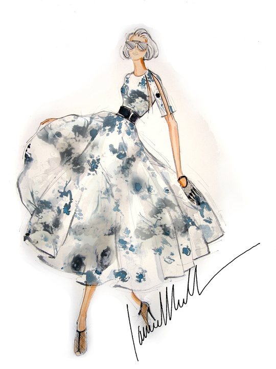 Fashion Week spring 2015 sketch Sept. 2014 Carmen Marc Valvo