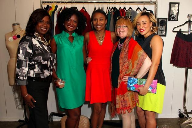 20 Sharon Sanders, from left, Linda Bell, Jackie Fair, Joann Klein and Ashlynn Sanders at the Dress for Dinner kickoff in new David Peck Showroom September 2014