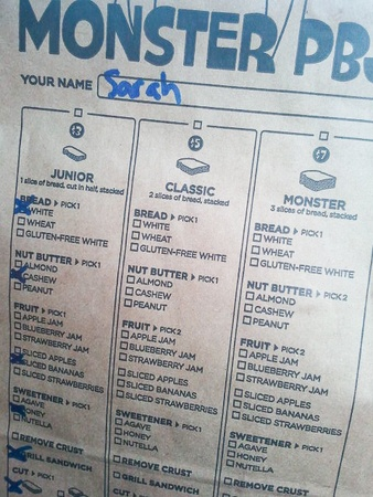 sandwich food truck Monster PBJ, menu