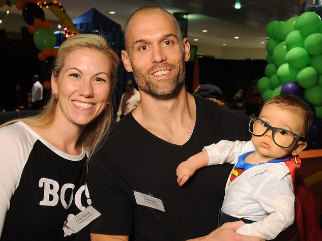 Houston, MD Anderson Children's Cancer Hospital Halloween Spooktacular, Oct. 2016, Caroline Wissing, Steve Wissing with son Patrick Wissing