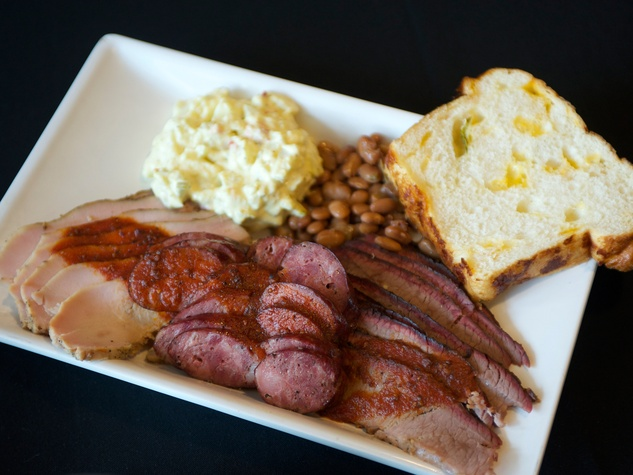 Texans tasting September 2014 barbecue sausage potato salad