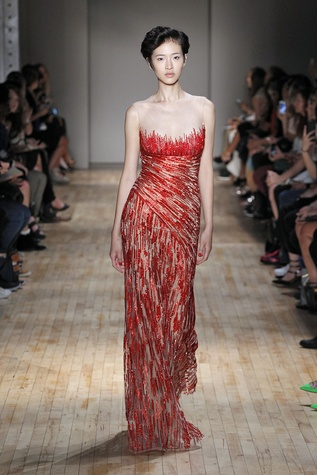 Jenny Packham spring 2015 collection red gown