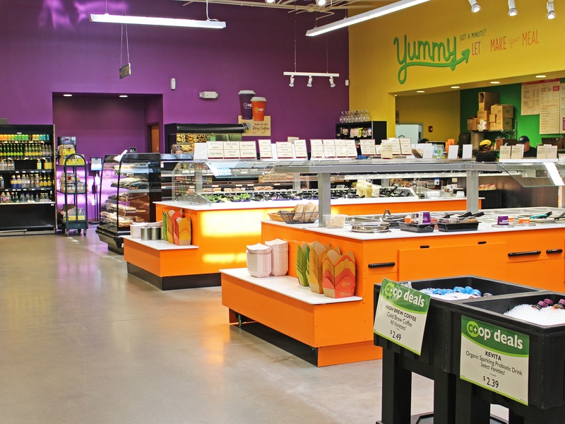 Image of the Warm Food Bars within the renovated Wheatsville Co-op