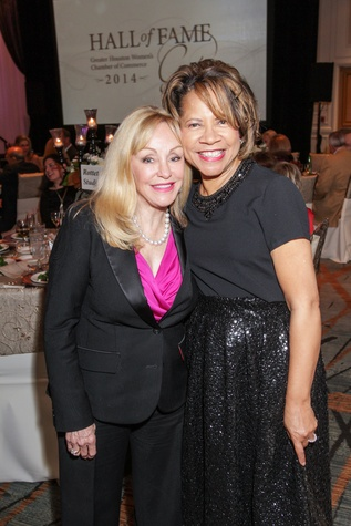 Judi McGee, left, and Merele Yarborough at the Women's Chamber of Commerce Hall of Fame Gala December 2014