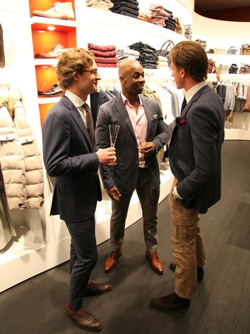 Guido Post, from left, Ricky Aston and Bob Staal at the Suitsupply Houston grand opening party December 2013