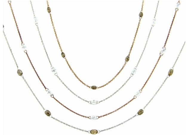 Sethi Couture (Zadok Branded Label) Diamonds by the Yard Briolette Necklaces