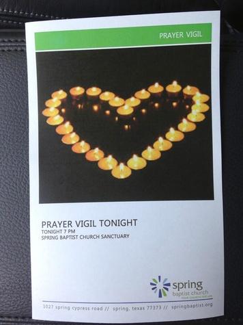 Spring Baptist Church prayer vigil for stabbing victim at Spring High School September 2013