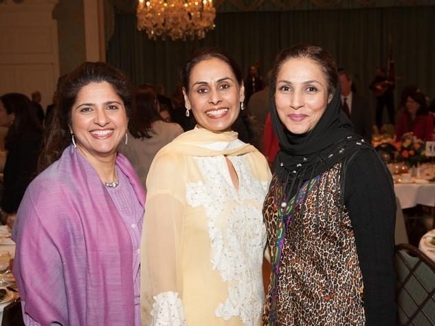 Shaista Bashir, from left, Tehmina Masud and Monira Kundi at the Interfaith Ministries luncheon January 2014