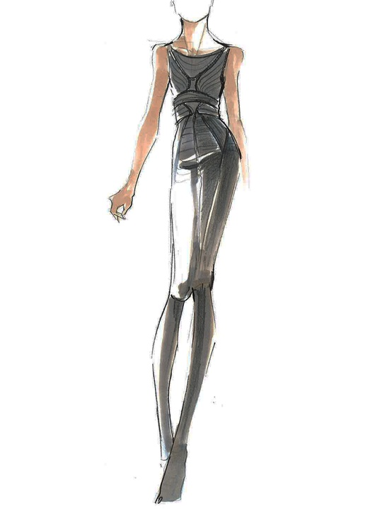 Fashion Week fall 2013, sketches, January 2013, Herve Leger