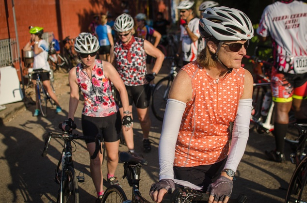 A group of riders embark on the 50-mile course through Pflugerville and Cele.