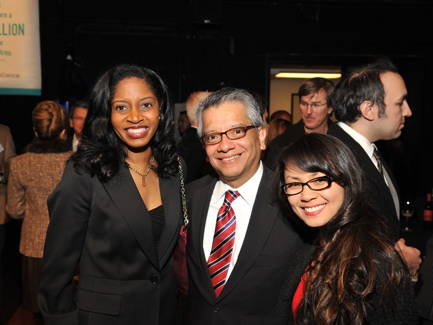 Shannon Buggs, from left, David Ruiz and Van Ngo at the Houston Arts Alliance Reception for the Arts January 2014
