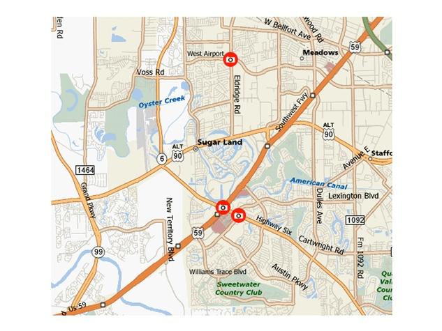 Sugar Land, red light camera, safe light camera, map, March 2013
