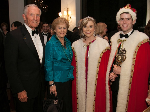 George and Anette Stake, from left, with Meredith Smith and Cody Miller at the University of St. Thomas Mardi Gras March 2014