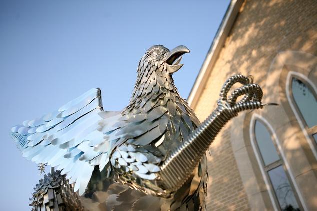 Griffen metal sculpture