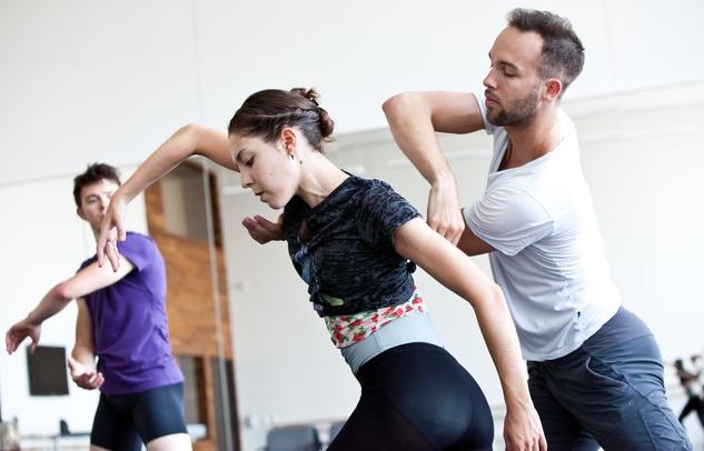 6148 Houston Ballet Four Premieres September 2013 Garrett Smith, Katharine Precourt, and William Newton in Return