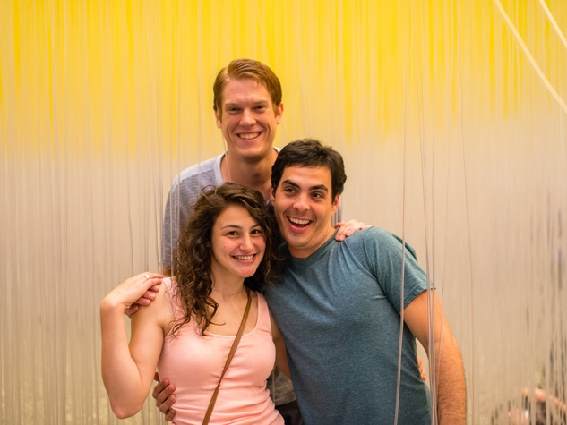 Edward Krueger, from left, Sydney Friedman and Ben Baron at the Art Crowd Soto at the MFAH June 2014
