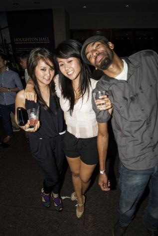 Uyen Pham, from left, Nhi Pham and Darius Brown at the MFAH Mixed Media Party June 2014