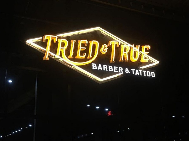 Tried and True Barber and Tattoo sign