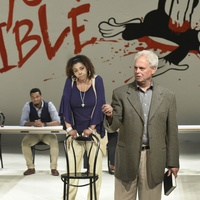 Kieran Connolly, Liz Mikel, and Ace Anderson in Dallas Theater Center's Inherit the Wind