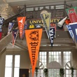 YES Prep event, October 2012, Pennants representing sponsor alma maters