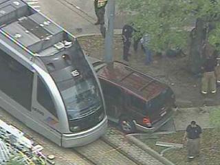 light rail, METROrail, train, SUV, crash, April 2013