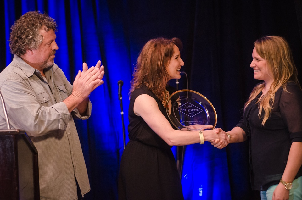Sarah McIntosh accepts the award for Best New Restaurant on behalf of Epicerie